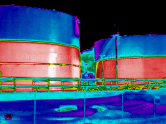 Thermal Image of Two Crude Oil Storage Tanks
