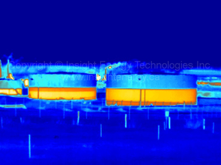 Thermal Image of Two Fuel Storage Tanks